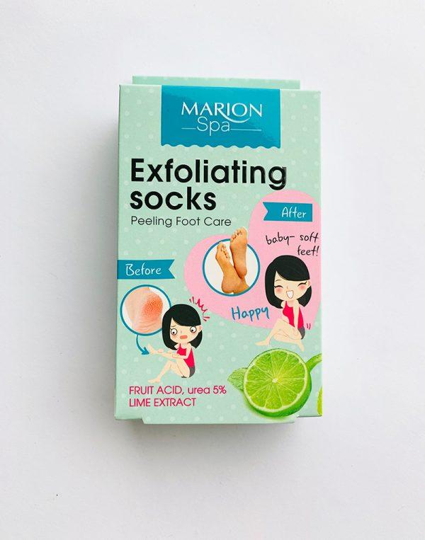 MARION SPA priemonė pėdų priežiūrai. Pakuotėjė pora vienkartinių kojinaičių, 2 pakeliai aktyvios medžiagos (2x20 ml.)