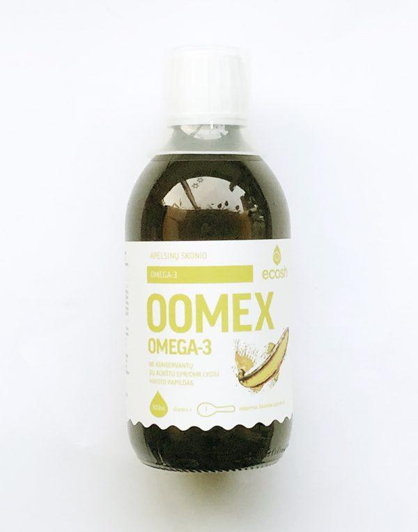 OOMEX apelsinų skonio žuvų taukai, 300ml